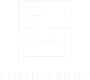 The Link Shop logo white
